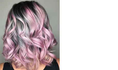 Dark grey roots and baby pink body: