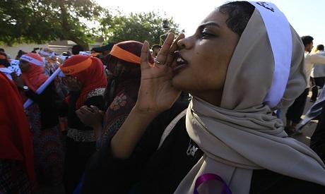 Sudanese women march in Khartoum