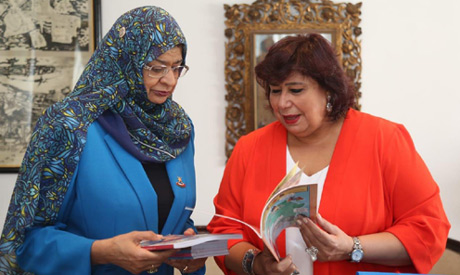 Culture Minister Ines Abdel-Dayem shows Minister of Education of Sultanet of Oman Rawya bint Saud Al