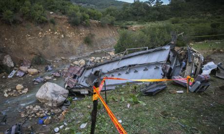 The debris of a regional bus