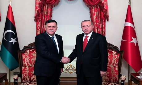 Turkish President Tayyip Erdogan meets with Libya