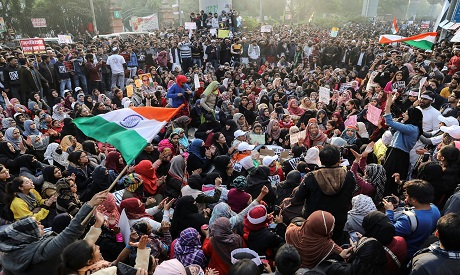 Demonstrators attend a protest against a new citizenship law in New Delhi, India