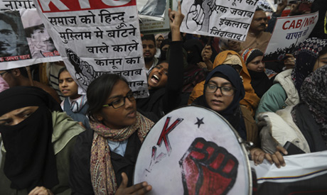 Students shout slogans against government during a protest against a new citizenship law in New Delh