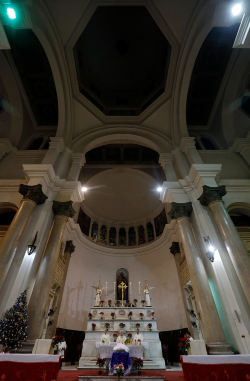 A general view of the altar is pictured during a Christmas eve mass at Saint Joseph