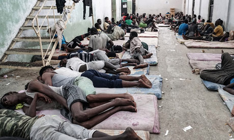 Migrants at a detention center in Zawiyah, west of Tripoli, on June 17, 2017. (AFP)