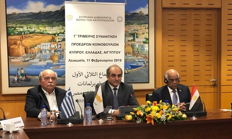 In a meeting the first of its kind Monday, parliament speakers of Egypt, Greece and Cyprus discussed