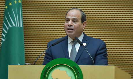 Egyptian President and new African Union chairperson Abdel Fattah al-Sisi speaks during the 32nd Afr