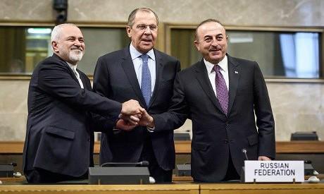 Sergei Lavrov, Mevlut Cavusoglu and Javad Zarif