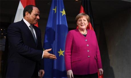 Al-Sisi with Merkel