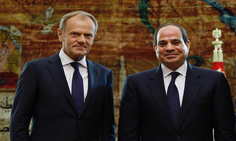 Egypt's Sisi meets with European Union  president Donald Tusk in Sharm al-Sheikh