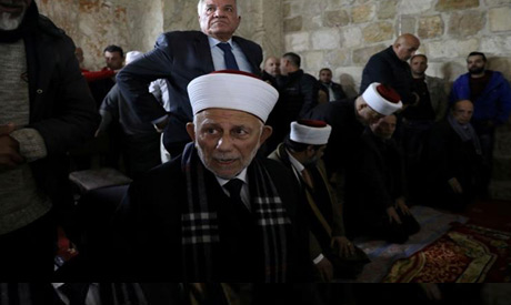 Abdel-Azim Salhab attended Friday prayers near the Al-Rahma gate located inside the Al-Aqsa Mosque c