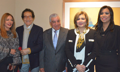 (L-r) Laila Elwi, Farouk Hosny,  Zahi Hawass, Amal Osman at the opening (Ayman Barayez)