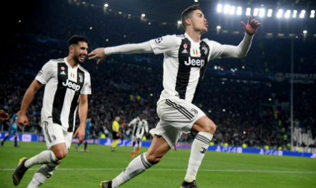 ca449b1f645 Juventus' Cristiano Ronaldo celebrates scoring their third goal to complete  his hat-trick with Emre Can (Reuters)
