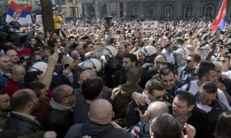 Serbian protesters