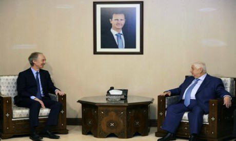 Geir Pederson and Walid al-Moallem