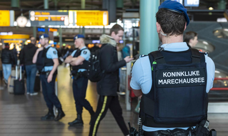 Military police units are deployed in Schiphol Airport, near Amsterdam, after the attack in Utrecht.