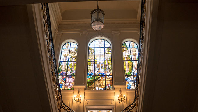 Stained glass at Aisha Fahmy Palace