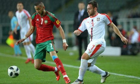 Hakim Ziyech in action with Serbia