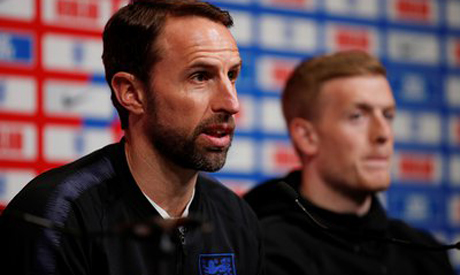 Gareth Southgate and Jordan Pickford