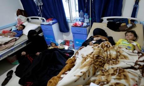 Cholera-infected children, Yemen