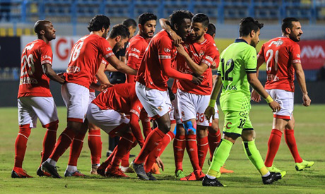 Ahly players celebrates their second goal against Petrojet (Al-Ahram)