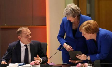 Theresa May, Angela Merkel and Donald Tusk