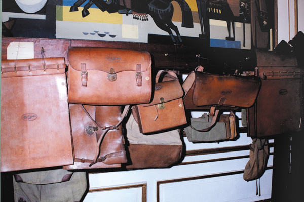 The postmen's              leather mailbags exhibited at the museum