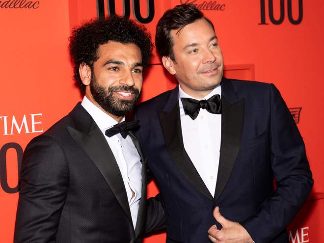 Salah with US comedian Jimmy Fallon on the red carpet (Reuters)