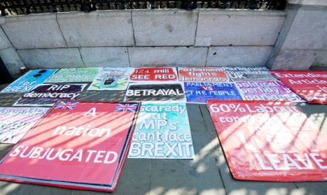 Pro-Brexit placards in London