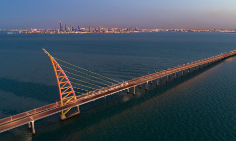Aerial view of the arch pylon on the Sheikh Jaber al-Ahmad Al-Sabah Causeway which will lead to the