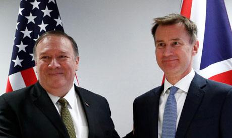 U.S. Secretary of State Mike Pompeo poses with Britain