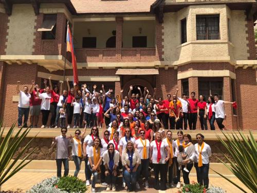 Members of the Armenian community gathered at the Armenian Embassy in Zamalek
