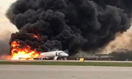 Passenger plane on fire, Russia