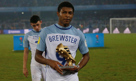 England's Rhian Brewster wins the Golden Boot for the 2017 FIFA U-17 World Cup (REUTERS)