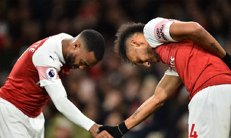 Alexandre Lacazette (left) and Pierre-Emerick Aubameyang (right) (AFP)