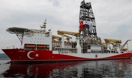 Turkish drilling vessel Yavuz sets sail in Izmit Bay, on its way to the Mediterranean Sea, off the p