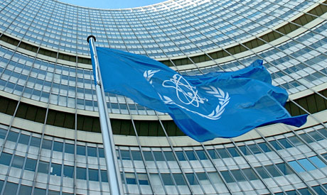 (FILES) In this file photo taken on November 15, 2004 the IAEA flag flatters in the wind in front of