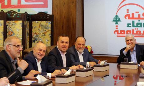 Members of Hezbollah parliamentary bloc are seen during a regular meeting in Beirut, Lebanon, Lebano