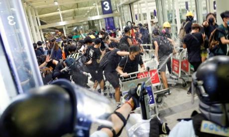 Demonstration at the Airport in Hong Kong