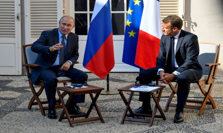 French President Emmanuel Macron meets with Russia