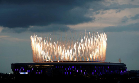 General view outside the stadium as fireworks are set off before the match (Reuters)