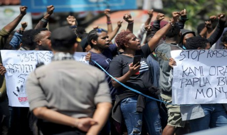 Protesters in Papua province, Indonesia