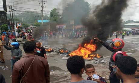 Violent protest erupts in capital of Indonesia