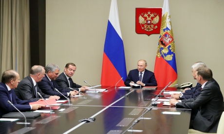 Russian President Vladimir Putin, center, chairs a Security Council meeting in the Kremlin in Moscow