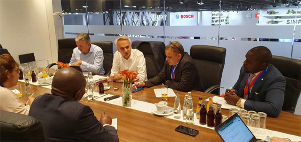 Bosch Household Appliances managing director, Harald Friedrich talking to reporters