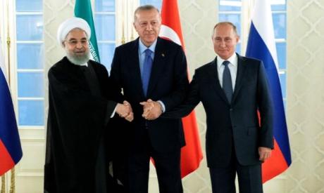 Hassan Rouhani, Tayyip Erdogan and Vladimir Putin