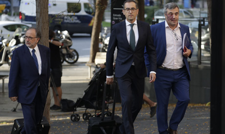 The FC Barcelona legal team arrive at court in Barcelona, Spain, Friday, Sept. 27, 2019. (AP)