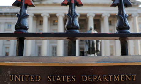 A sign marks the U.S Treasury Department in Washington, U.S., August 6, 2018. (Reuters)
