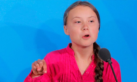 16-year-old Swedish Climate activist Greta Thunberg speaks at the 2019 United Nations Climate Action