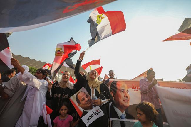 Supporters of President Abdel Fattah Al Sisi chant slogans in Cairo, Egypt September 27, 2019. (Reut